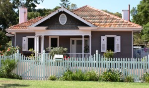 House with a white picket fence
